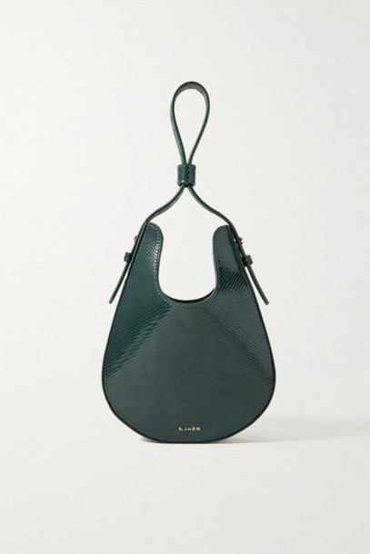 S.Joon - Teardrop Lizard-effect Leather Tote - Emerald