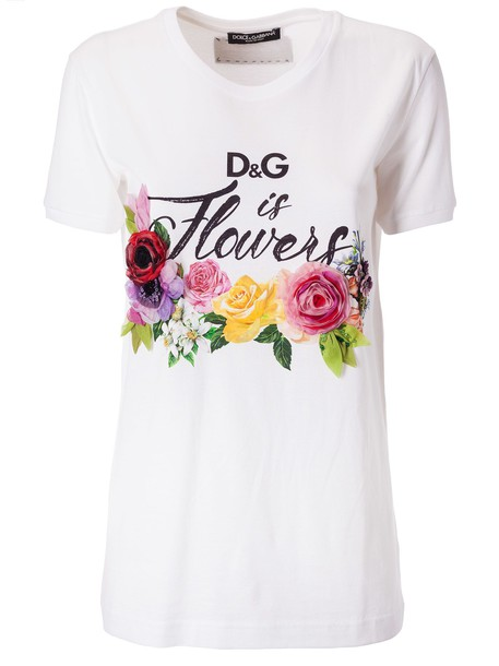 Dolce & Gabbana D & g Is Flowers T-shirt in bianco