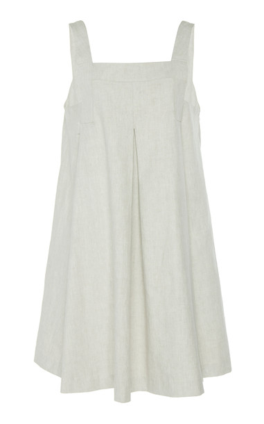 White Story Capri Stone Linen-Blend Pleated Romper in neutral