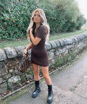 shoes,black boots,combat boots,mini dress,short sleeve dress,bag