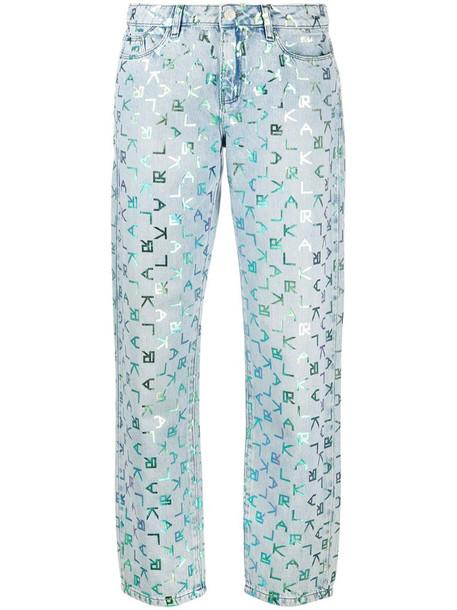 Karl Lagerfeld low rise tetris print jeans in blue
