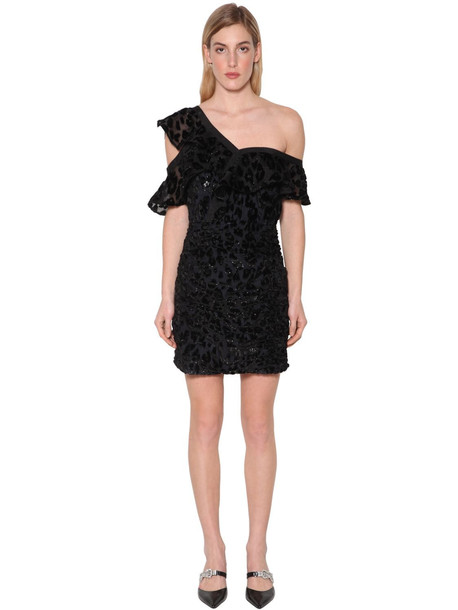 SELF-PORTRAIT Leopard Devoré Mini Dress in black