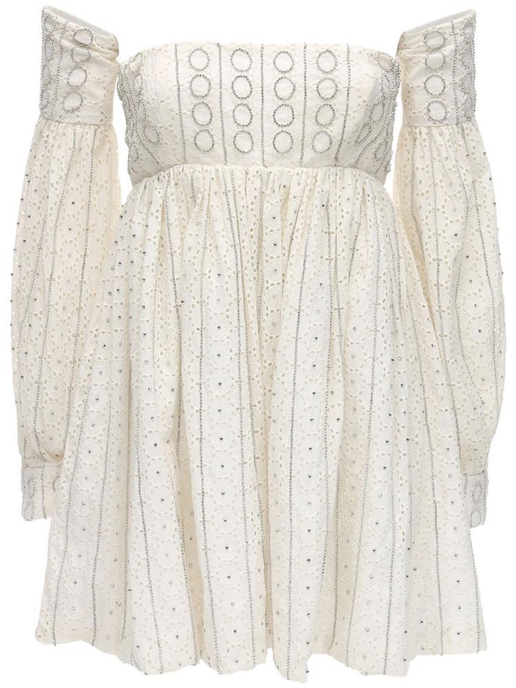 AMEN Embellished Eyelet Lace Mini Dress in ivory