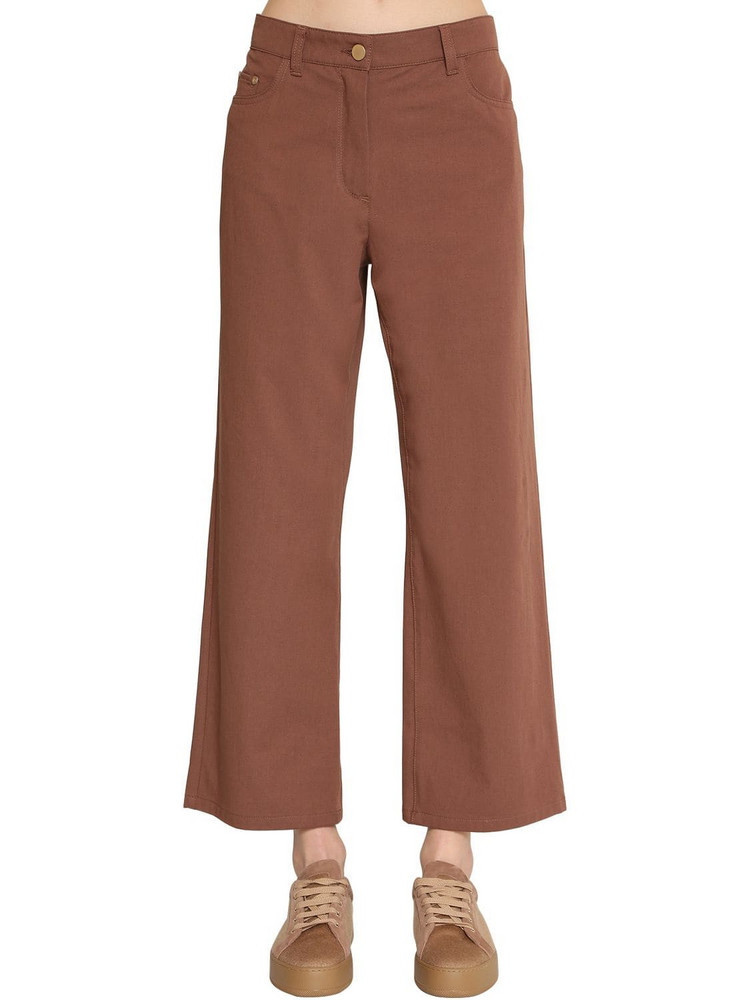 MAX MARA 'S Straight Leg Cotton Canvas Pants in brown