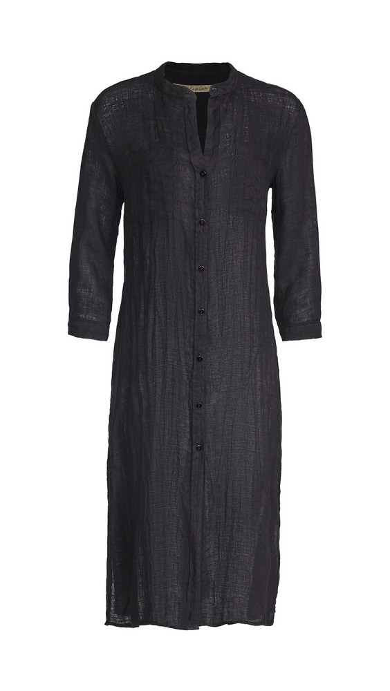 Enza Costa Linen Gauze Shirtdress in black