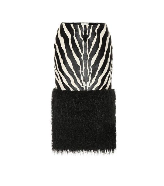 Saint Laurent Calf hair and faux fur skirt in black