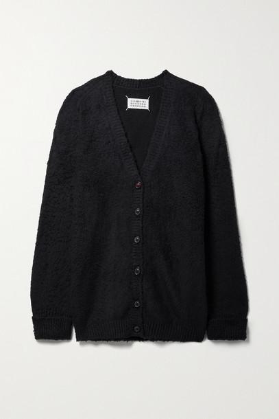 Maison Margiela - Oversized Cotton-blend Bouclé Cardigan - Black