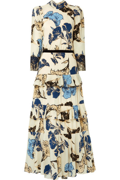 Johanna Ortiz - Sheer Decoration Velvet And Lace-trimmed Floral-print Silk Crepe De Chine Maxi Dress - White