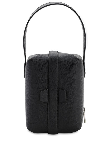 VALEXTRA Tric Trac Grained Leather Top Handlebag in black