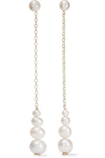 Saskia Diez - Gold Pearl Earrings - White
