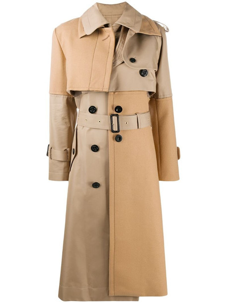 Sacai leather panelled trench coat in neutrals