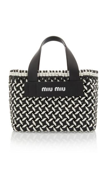 Miu Miu Intreccio Leather Tote Bag in black