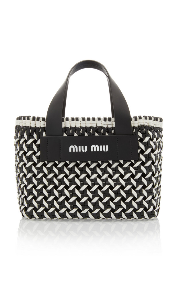Miu Miu Intreccio Leather Tote Bag in black