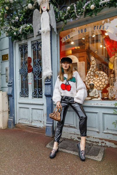 not jess fashion blogger sweater pants shoes bag hat leather pants loafers winter outfits