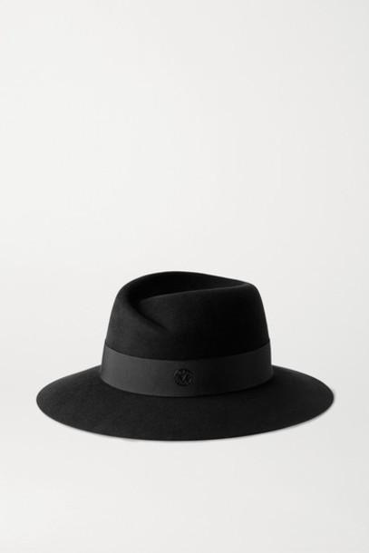 Maison Michel - Virginie Grosgrain-trimmed Wool-felt Fedora - Black