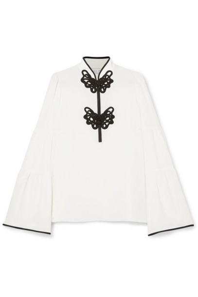 Andrew Gn - Satin-appliquéd Crepe Blouse - White