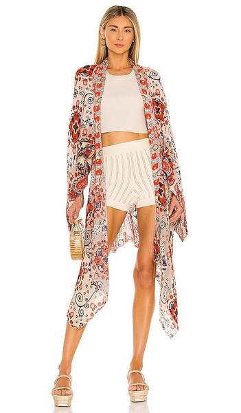 Free People Little Wing Kimono in Red in natural
