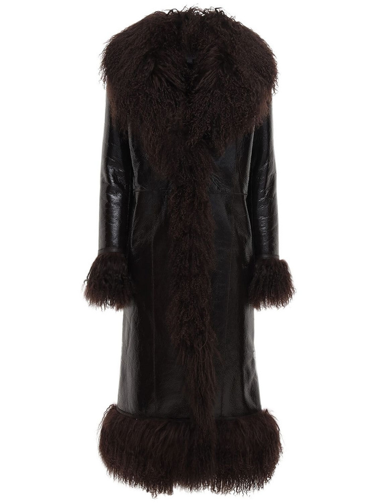 SAKS POTTS Bonnie Patent Leather & Shearling Coat in brown