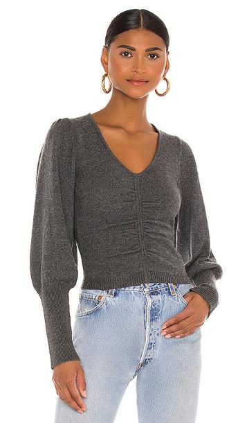 FRAME Crop Shirred Sweater in Grey