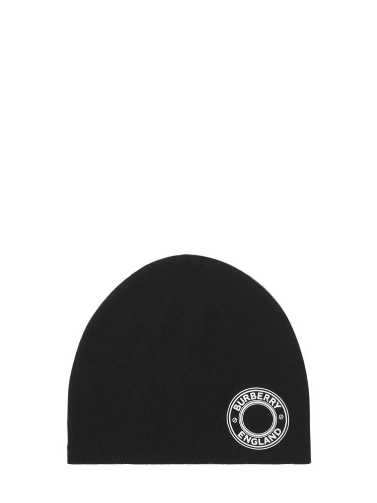 BURBERRY Round Logo Cashmere Blend Knit Beanie in black