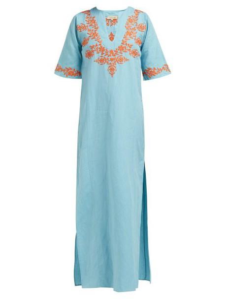 Muzungu Sisters - Lotus Floral Embroidered Cotton Blend Kaftan - Womens - Blue Multi