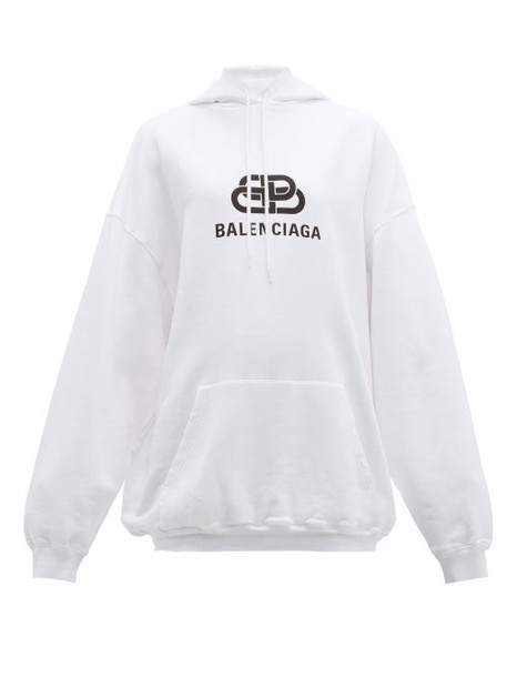 Balenciaga - Bb Logo Print Hooded Cotton Jersey Sweatshirt - Womens - White Print
