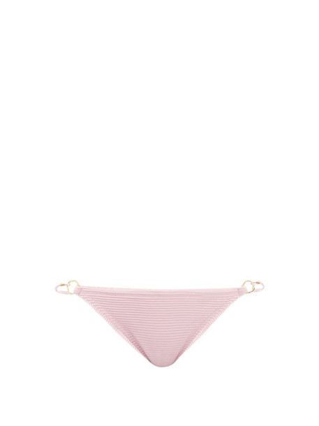 Heidi Klein - Ring-embellished Ribbed-jersey Bikini Briefs - Womens - Pink