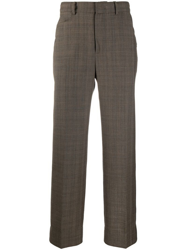 Ader Error asymmetrical pocket checked trousers in brown