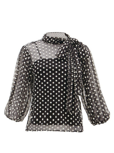 Redvalentino - Daisy-embroidered Mesh Pussy-bow Blouse - Womens - Black