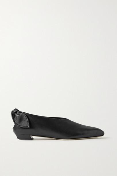 Proenza Schouler - Bow-embellished Leather Ballet Flats - Black
