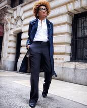 pants,wide-leg pants,navy,high waisted pants,loafers,trench coat,blue coat,white shirt