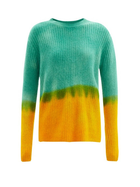 The Elder Statesman - Dip Tie-dyed Cashmere Sweater - Womens - Green Multi
