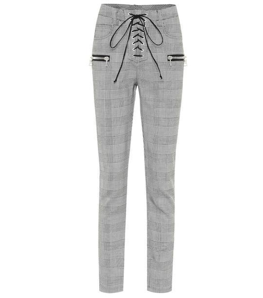 Unravel Checked wool-blend skinny pants in grey