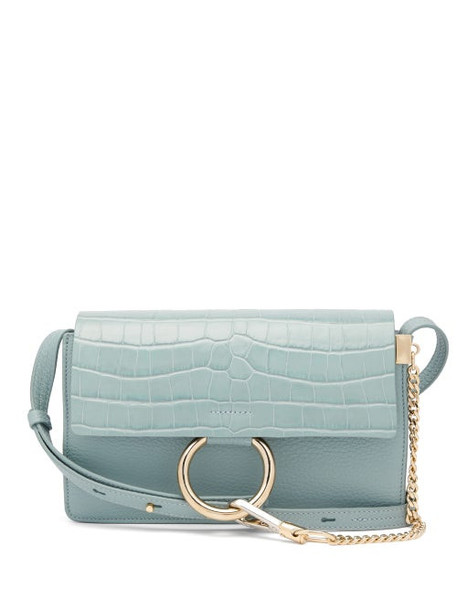 Chloé Chloé - Faye Small Crocodile-effect Leather Shoulder Bag - Womens - Blue
