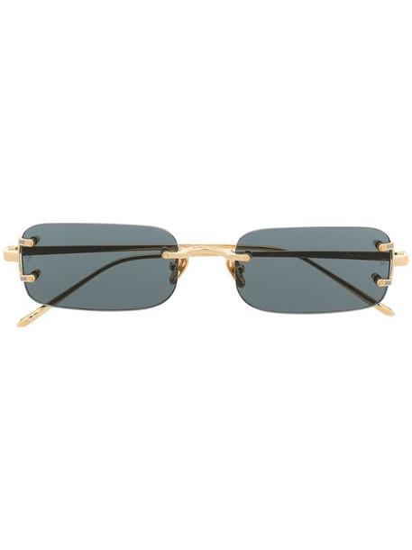 Linda Farrow Talor rectangular frame sunglasses in gold