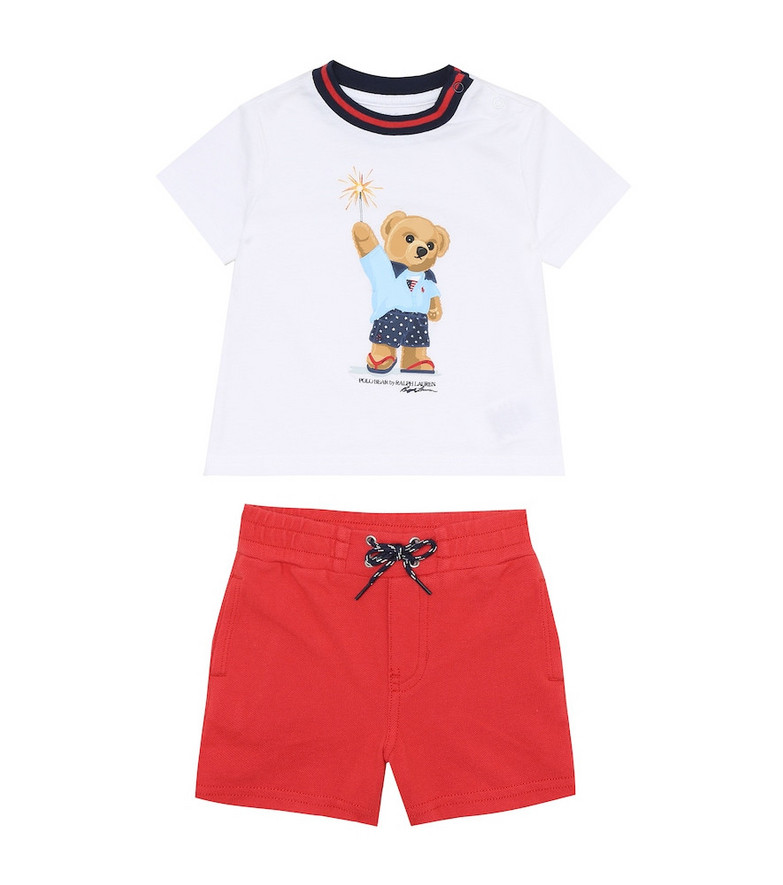 Polo Ralph Lauren Kids Baby cotton T-shirt and shorts set in white