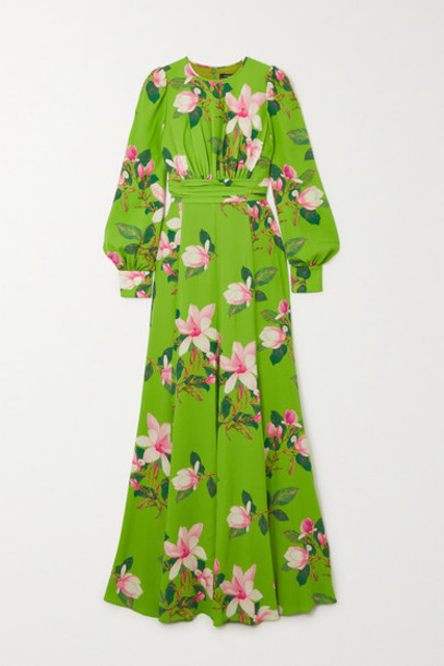 Andrew Gn - Floral-print Silk-crepe Gown - Green