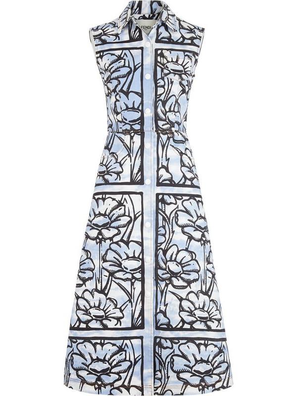 Fendi floral-print shirt dress in blue