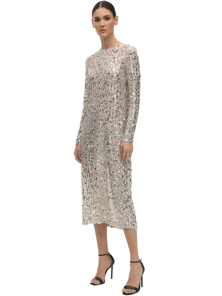 IN THE MOOD FOR LOVE Sequined Round Neck Midi Dress in silver