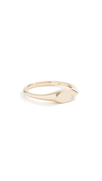 Adina Reyter 14k Small Hexagon Signet Ring in gold / yellow