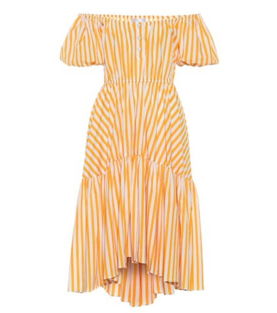 Caroline Constas Striped stretch cotton midi dress in orange