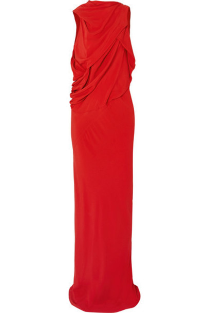 Rick Owens - Draped Crepe Gown - Red