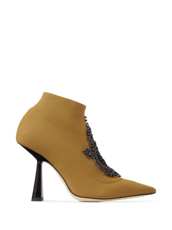 Jimmy Choo Saber 100mm jewelled boots in brown