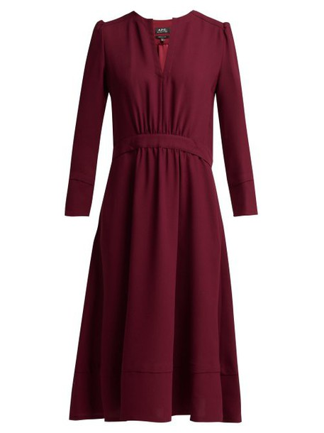 A.P.C. A.p.c. - Bing Belted Crepe Dress - Womens - Burgundy