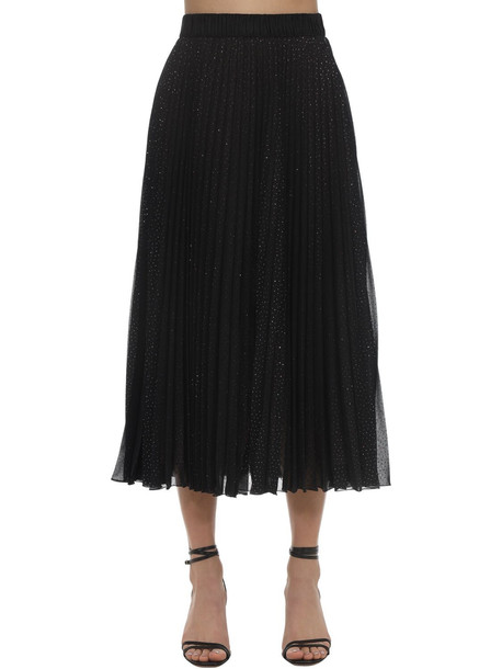 MARCO DE VINCENZO Pleated Glitter Georgette Midi Skirt in black