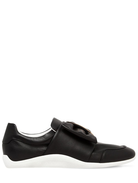 ROGER VIVIER 10mm Sporty Viv Bow Leather Sneakers in black