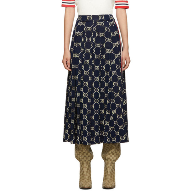 Gucci Navy Pleated GG Skirt