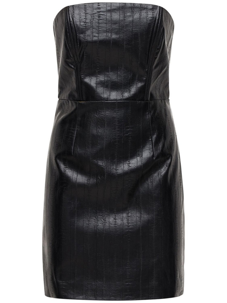 ROTATE Herla Strapless Faux Leather Mini Dress in black