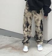 pants,tie dye,bleached,acid wash,baggy pants