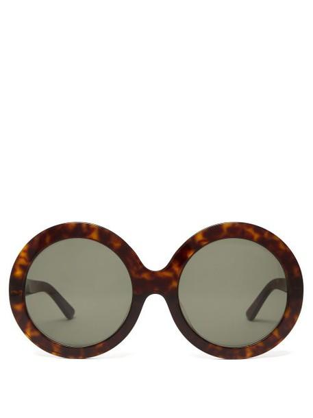 Celine Eyewear - Tortoiseshell Effect Round Acetate Sunglasses - Womens - Tortoiseshell